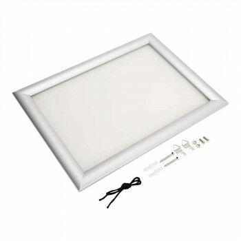 Wissellijst 'Snaplock' enkelzijdig, melkwit achterpaneel, aluminium lijst, zilver metaal, A4, 30 x 21 cm