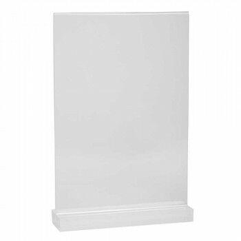 menukaarthouder james met massieve voet, transparant acrylaat, A4, 30 x 21 cm