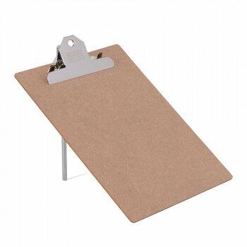 Memobord op standaard, met clip en metalen pin, naturel hout, A4, 30 x 21 cm