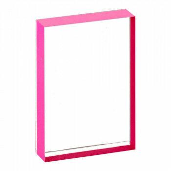 kaarthouder slip-in met pink gezeefdrukte randen, transparant acrylaat, A4, 30 x 21 cm