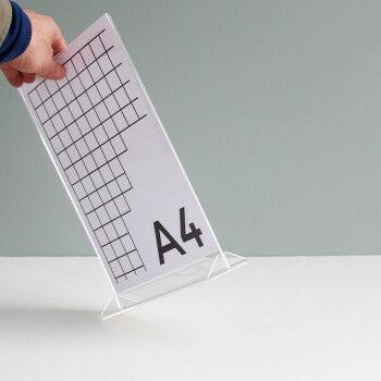 menustandaard 2-delig rechtop staand met voet, transparant acrylaat, A4, 21 x 30 cm