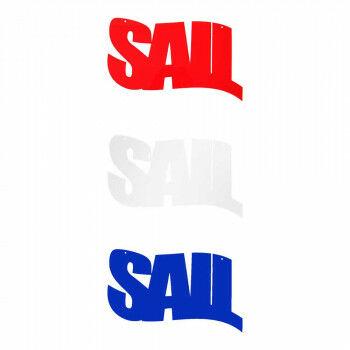 Tekst 'Sail' 1x rood, 1x wit, 1x blauw, multi kunststof, 40 x 20 cm