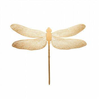 libelle small, met ophangoogje aan achterzijde ook een magneet, decoratief item, goud metaal, 35 x 11 x 27 cm