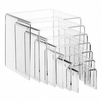 Bankjes 6+8+10+12+14+16+18cm³, 7-delig, transparant kunststof