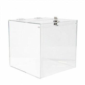 vitrinekubus met slot en scharnierende deksel, transparant acrylaat, 30 x 30 x 30 cm