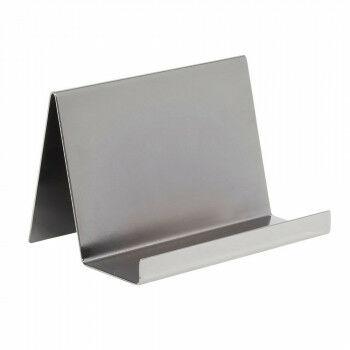 clutch standaard van gebogen plaatmetaal, zilver metaal, 10 x 15 x 10 cm