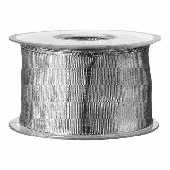 Lint 'Metal' met draad, geweven, 2-zijdig, 25 meter, zilver textiel, 6 cm