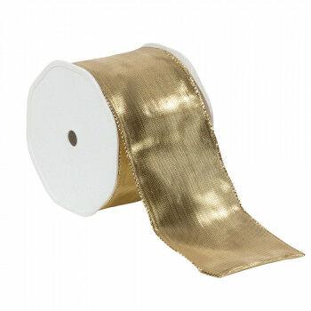 lint metaal rol 25 meter, met metaaldraad aan de randen, goud textiel, 7 cm