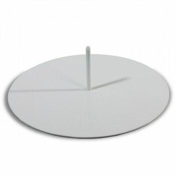 voetplaat met 1 pin, rond de pin is 10mmØ, gewicht 3,7kg, wit metaal, 35 cm