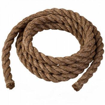 manilla touw 5 meter per rol, bruin natuur materiaal, 3.8 cm