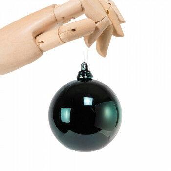 kerstbal in glanzende finish en onbreekbaar, groen kunststof, 7 cm