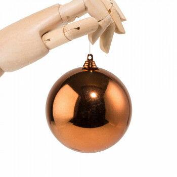 kerstbal in glanzende finish en onbreekbaar, oranje koper kunststof, 10 cm