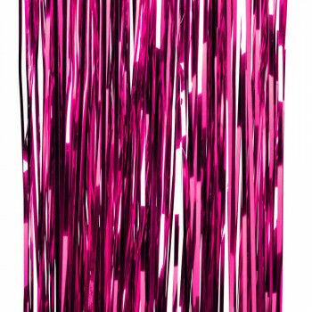 feestgordijn gemaakt van strookjes folie van 5mm, roze kunststof, 90 x 250 cm