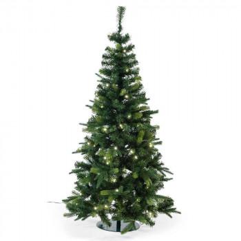 kerstboom waltham prelighted smalle boom met 104 warm witte led lampjes, groen kunststof, 150 cm