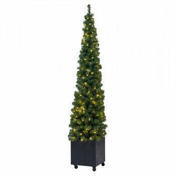 kerstboom voor buiten in metalen bak verrijdbaar en met 200 warmwitte led lampjes, groen, 230 x 60 cm