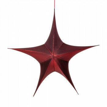 vouwster glansstof uitvouwbaar met blinde rits, rood textiel, 95 cm