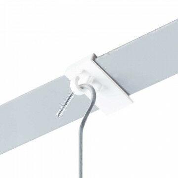 Plafondklem met haak voor systeemplafond, wit kunststof, 2.9 x 1.9 cm