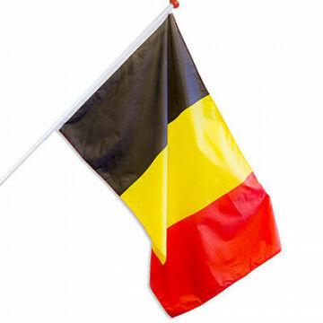 Vlag België zwart/geel/rood, textiel, 150 x 90 cm
