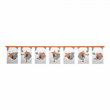 Vlaggenlijn Voetbal oranje/wit/zwart met afbeeldingen van voetballers, oranje textiel, 500 cm