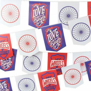 Vlaggenlijn 'Bicycle' 10 meter, met 32 vlaggetjes, papier, 1000 x 30 cm