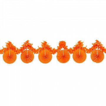 oranjepakket guirlande m/2 rucheguirlandes en 6 vouwrozetten, oranje