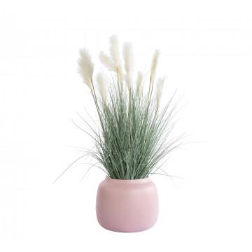 grasplant met 7 pluimen in blush metalen vaas/pot, groen, 120 cm