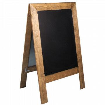 a-standaard met robuust uiterlijk magnetisch en met krijtstift beschrijfbaar, zwart hout, 80 x 120.5 cm