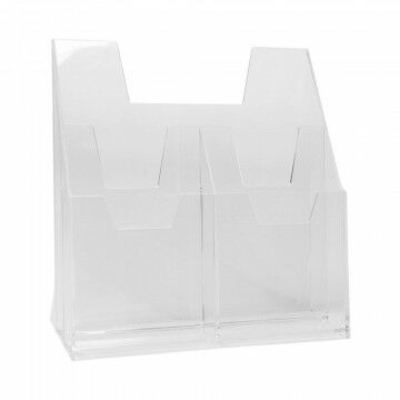 folderbakje, 3 vakken, 2 maten, staand strak, transparant en heldere communicatie, transparant acrylaat, 22.5 x 23 cm