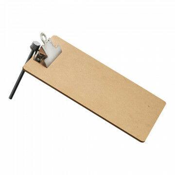 Memobord op standaard, met clip en metalen pin, naturel hout, A5, 21 x 15 cm