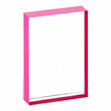 Kaarthouder Slip-in pink edge met pink rand, massief acrylaat, transparant kunststof, A4, 30 x 21 cm