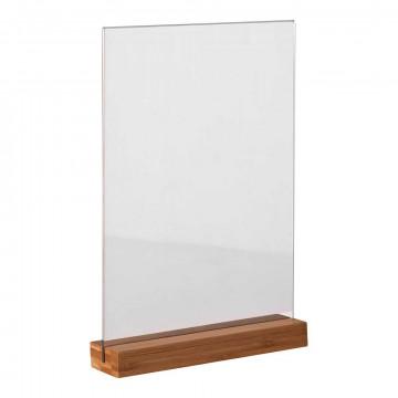 Kaartstandaard 'Bamboe' A4 gelakt, incl. acrylaat infohouder, ecomateriaal, naturel kunststof, 21 x 30 cm