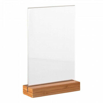 menustandaard acrylaat infohouder met bamboe voet, naturel acrylaat, A5, 15 x 21 cm