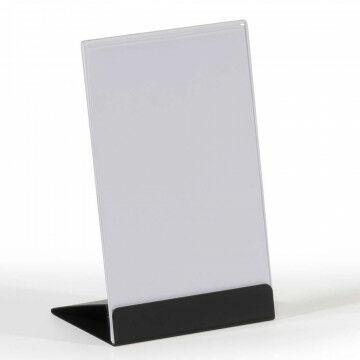 kaarthouder trend met acrylaat houder en zwarte verenstalen voet, zwart metaal, A6, 10.5 x 15 cm