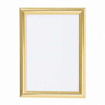 wissellijst snaplock enkelzijdig, melkwit achterpaneel, aluminium lijst, goud metaal, A4, 30 x 21 cm