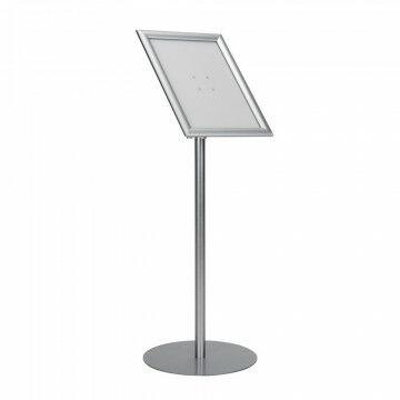 Vloerstandaard 'Zoom' liggend en staand, snaplock, tot 120cm verstelbaar, zilver metaal, A4, 120 cm