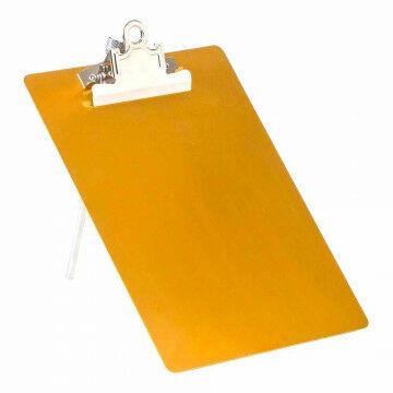 klembord op standaard, met clip en metalen pin, goud metaal, A5, 23 x 17 cm