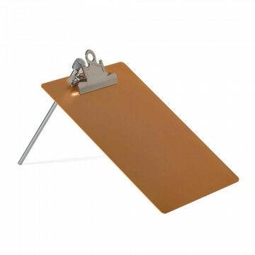 klembord op standaard met clip en metalen pin, koper metaal, A5, 23 x 17 cm