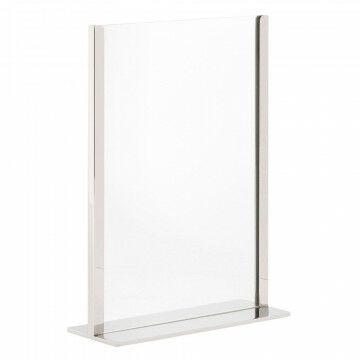 kaartstandaard de luxe in spiegelchroom finish met acryl houder, zilver metaal, A4, 8 x 21 x 29.5 cm