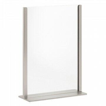 kaartstandaard de luxe in zilverkleurig geborsteld staal met acryl houder, zilver metaal, A4, 8 x 21 x 29.5 cm