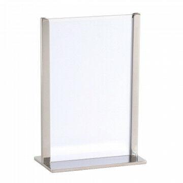kaart-en menuhouder voor op tafel, bij de kassa en receptiebalie, chroom metaal, A5, 15.1 x 21.6 cm