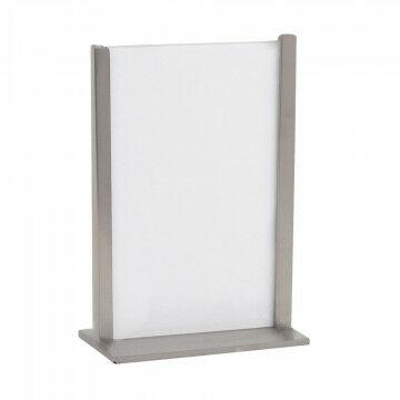 kaart-en menuhouder voor op tafel, bij de kassa en receptiebalie, zilver metaal, A5, 15.1 x 21.5 cm