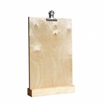 infohouder met losse klem  voor het vastzetten van je communicatie, naturel hout, A4