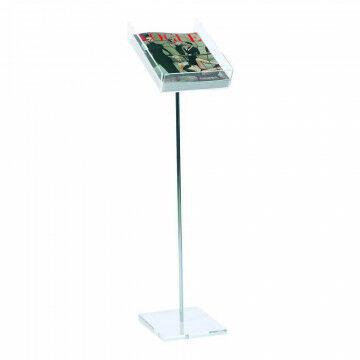 Brochurestandaard acrylaat bak en voet, met chromen stang, transparant metaal, A4, 30 x 21 x 90 cm