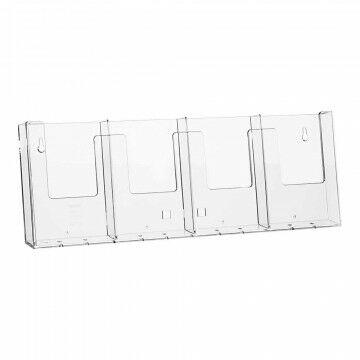 Folderstandaard 4-vaks kan hangen en staan, incl. 2 clips en 1 steunvoet, transparant kunststof, A6, 42.8 cm