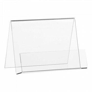 Folderstandaard liggend, A6, gevouwen, transparant kunststof, A6, 15 x 10.5 cm