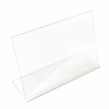 Showcardstandaard liggend, schuin, transparant kunststof, A3, 42 x 30 cm