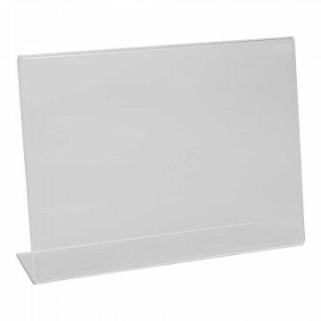 Showcardstandaard liggend, schuin, transparant kunststof, A5, 21 x 15 cm