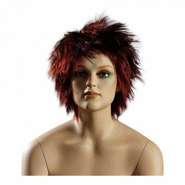Pruik dame 'kort pittig' geschikt voor Attitude serie, rood kunststof