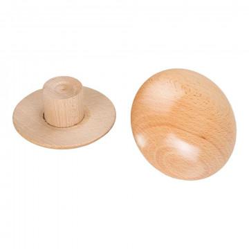 Dop plat voor damesbuste, naturel hout