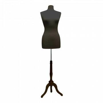 Buste dame World m/voet+dop nylon/zwart m/houten driepoot, zwart textiel